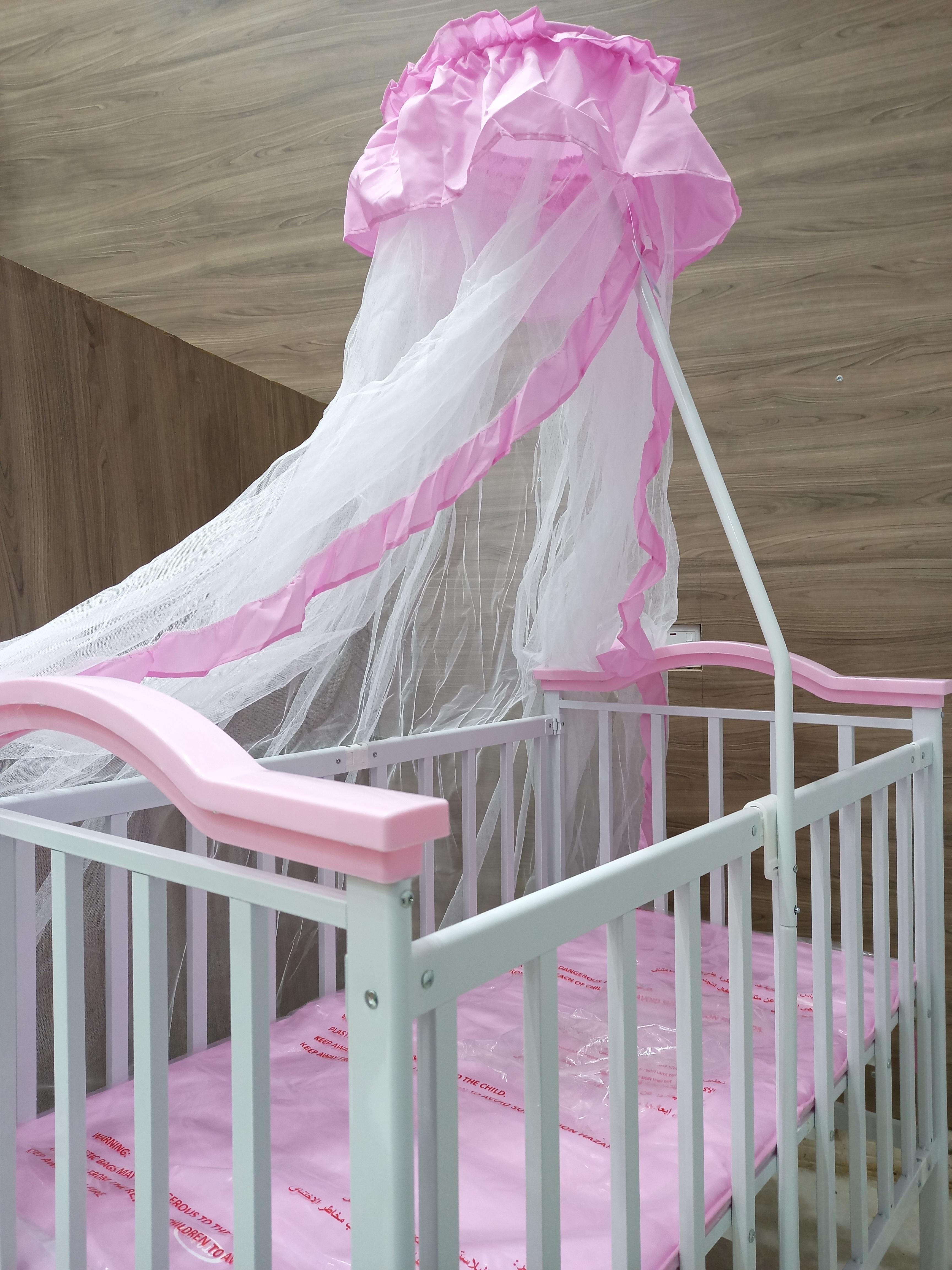 سرير حديد ناموسية وردي-أزرقG001-1