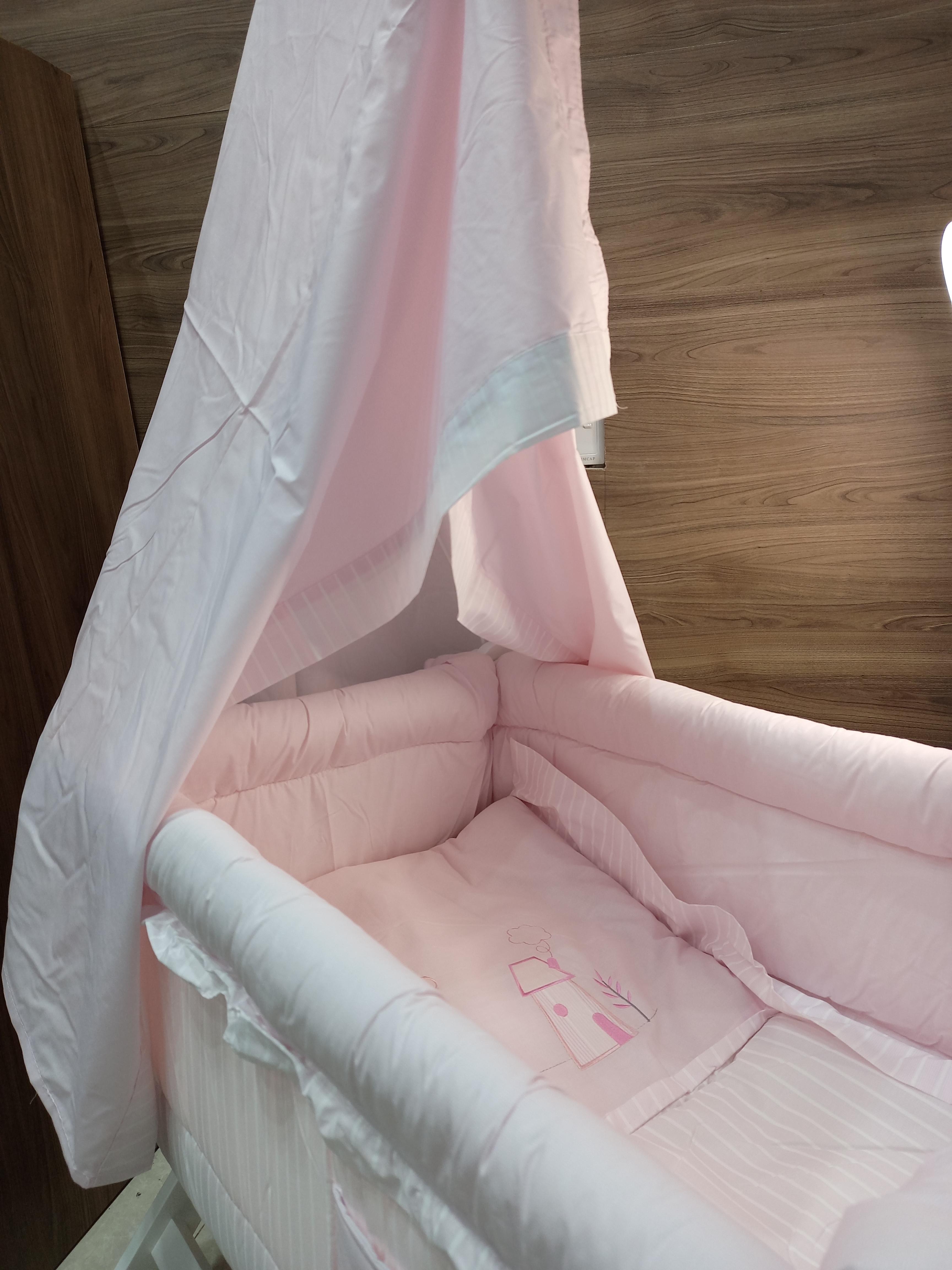 سرير أطفال اكس أبيض-وردي 125-15